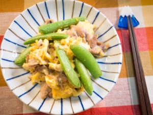 鹽燒蛋炒碗豆豬肉片