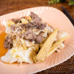 日式風味的蒜頭炒羊肉