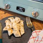 蒜香奶油烤杏鮑菇,自製大蒜抹醬|日本千石阿拉丁0.2秒瞬熱復古烤箱團購